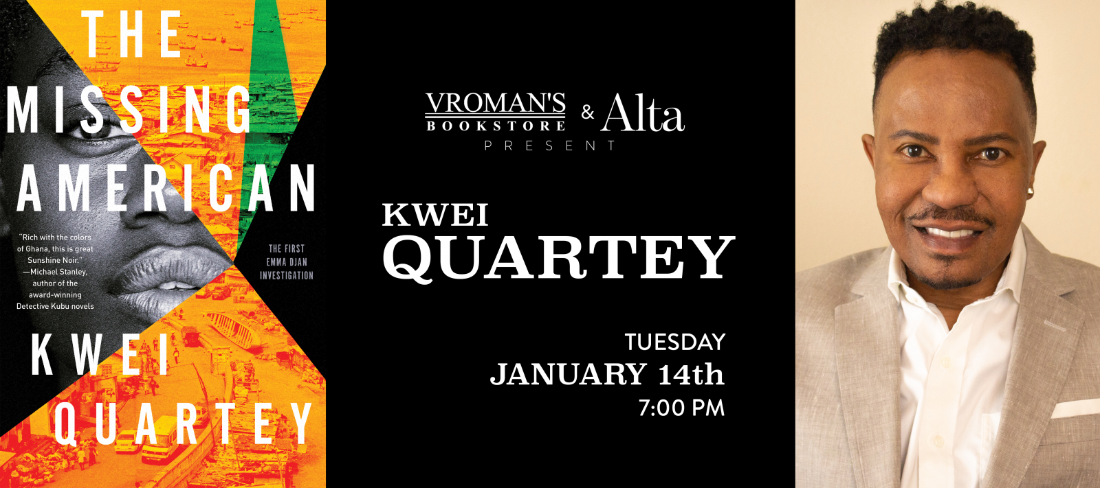Kwei Quartey book signing Tuesday January 14th at 7pm