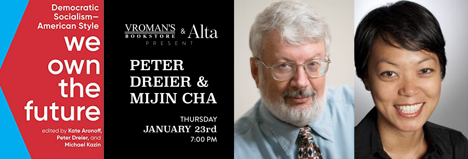 Peter Dreier and Mijin Cha book signing Thursday January 23rd at 7pm