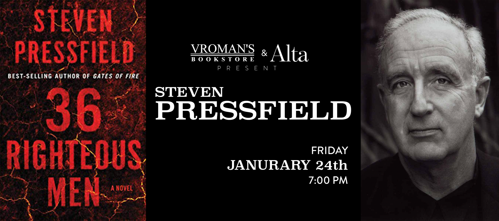 Steven Pressfield book signing Friday January 24th at 7pm