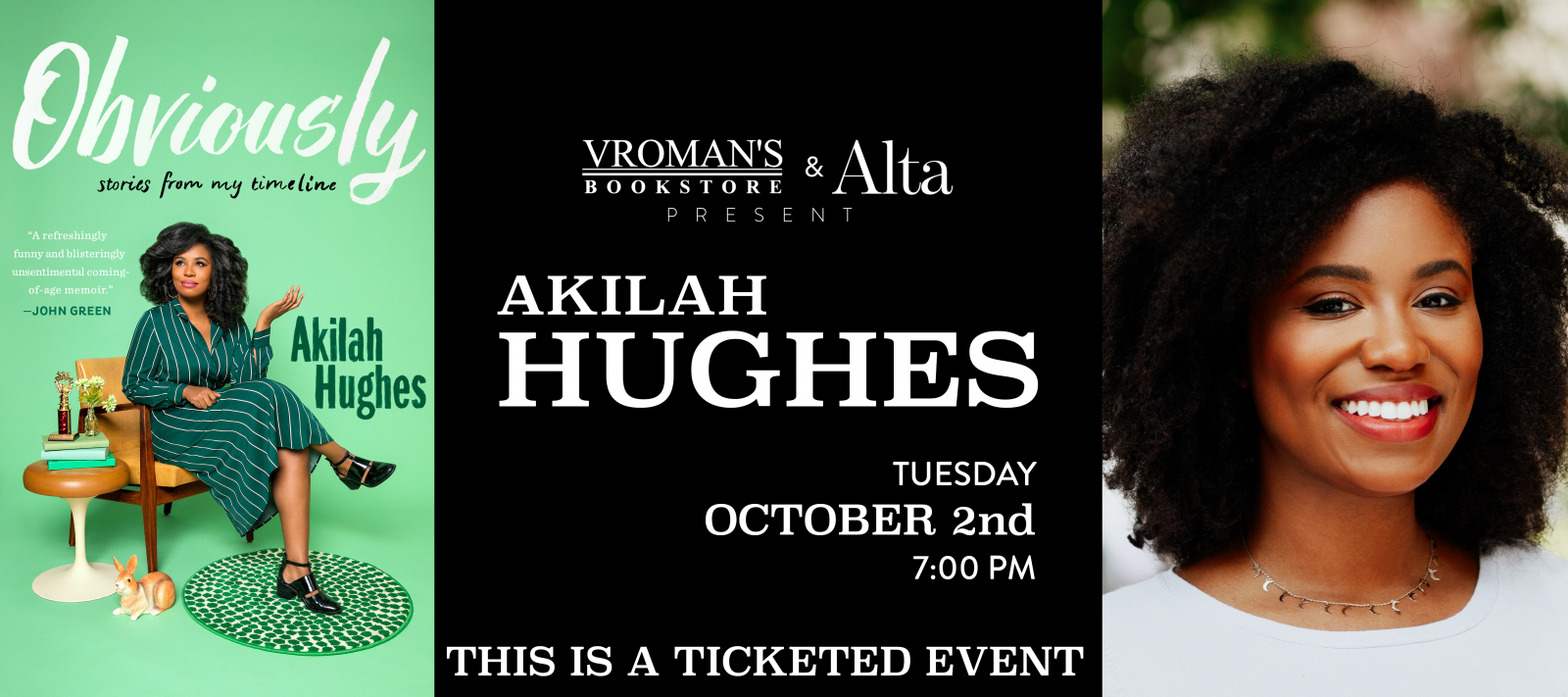 book signing with Akilah Hughes on Tuesday October 2nd at 7pm