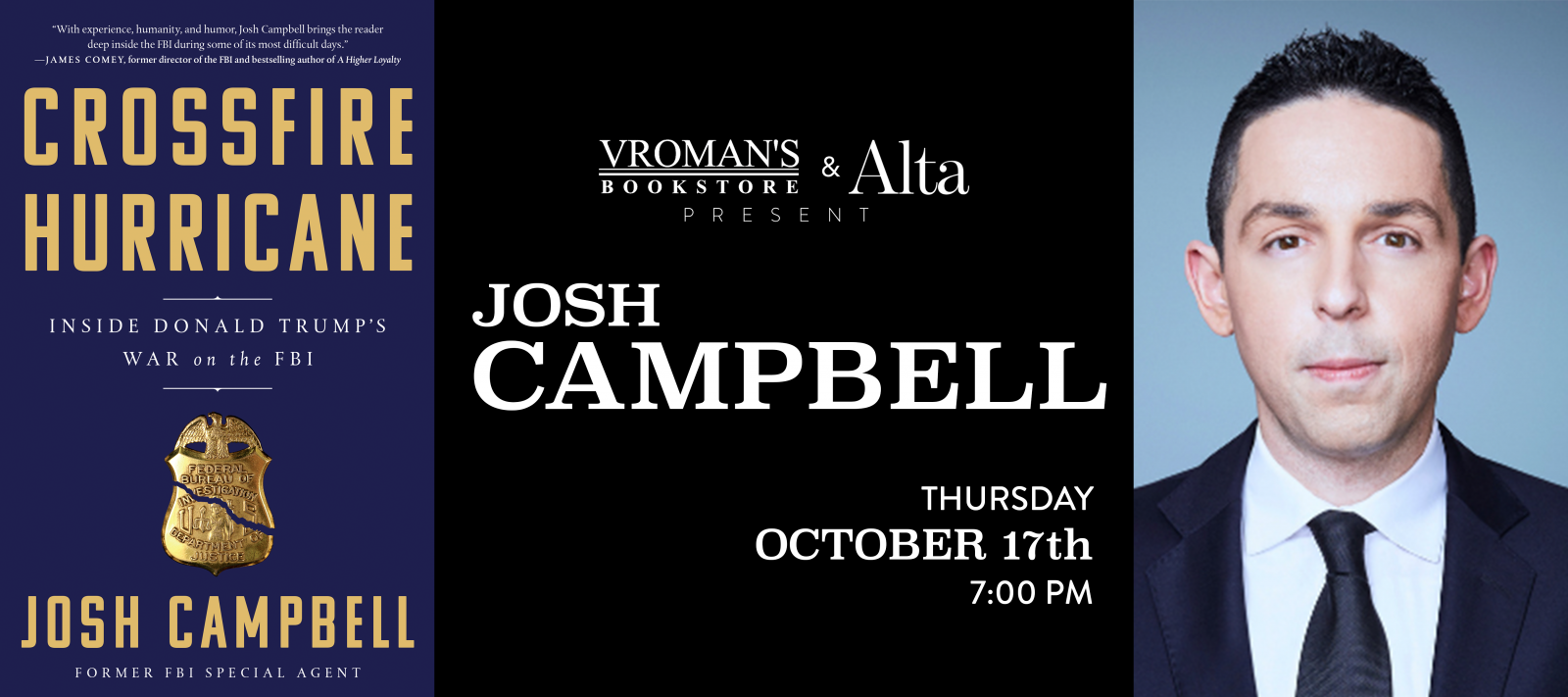 Josh Campbell book signing Thursday October 17 at 7pm