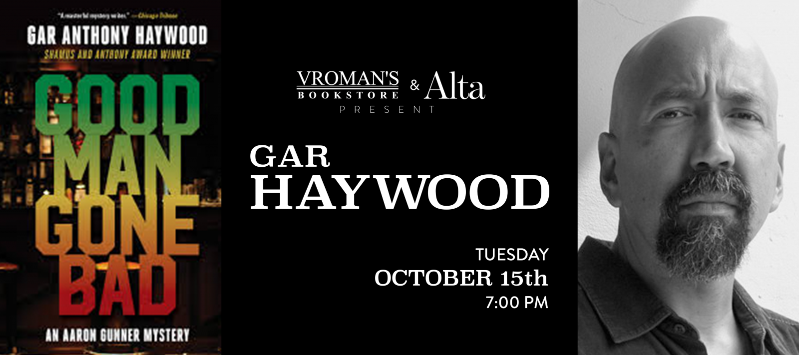Gar Anthony Haywood book signing Tuesday October 15 at 7pm