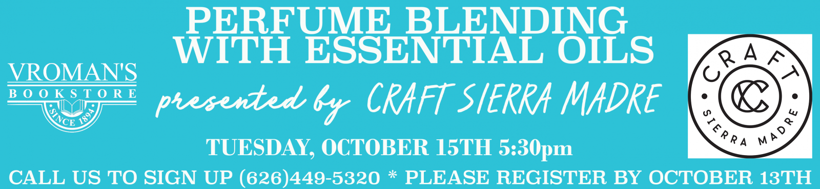 Perfume Blending with Essential Oils Workshop Tuesday October 15 at 5:30pm
