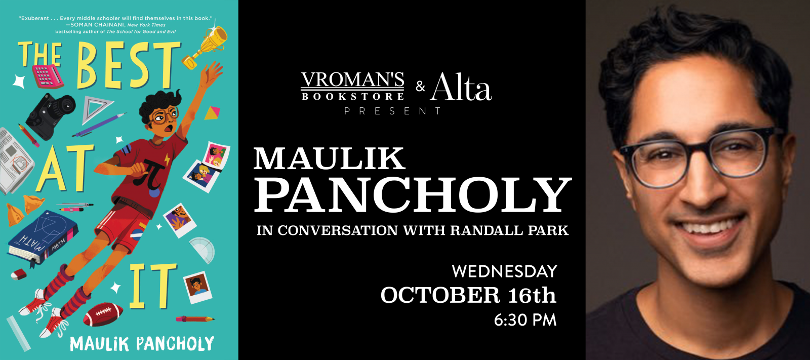 Maulik Pancholy book signing Wednesday October 16 at 6:30pm