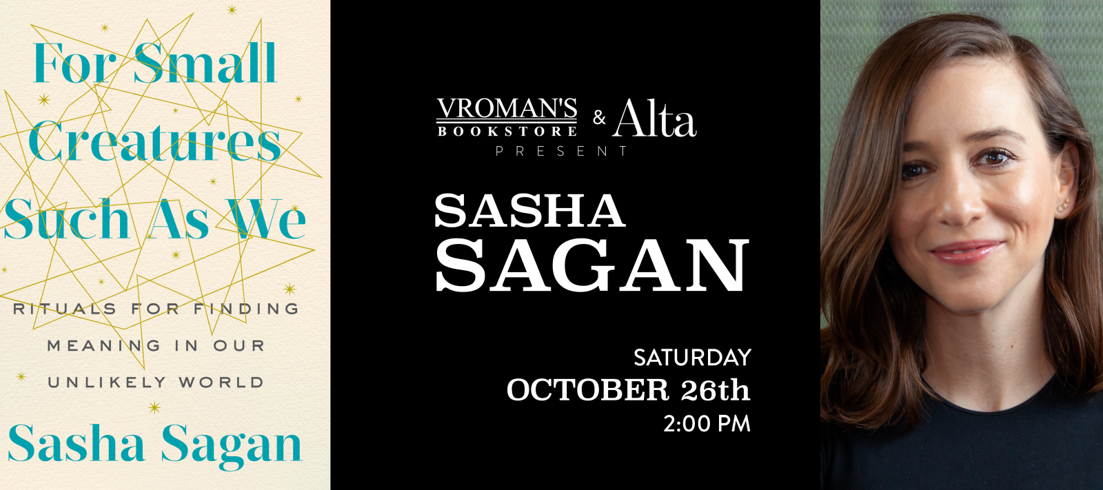 Sasha Sagan book signing Saturday October 26 at 2pm