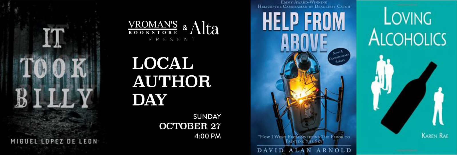 Local Author Day Sunday October 27 at 4om
