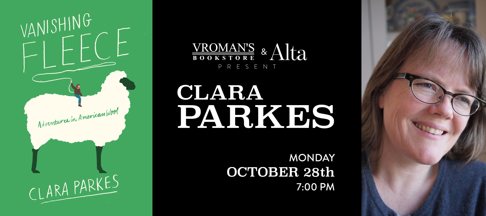 Clara Parkes book signing Monday October 28 at 7pm