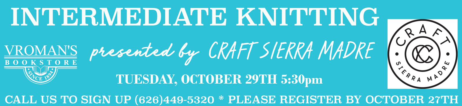 Intermediate Knitting Workshop Tuesday October 29th at 5:30pm