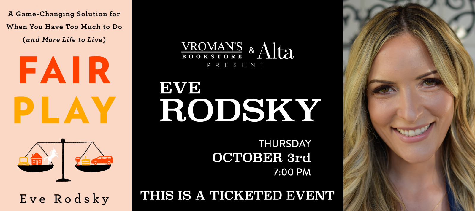 Eve Rodsky book signing Thursday October 3 at 7pm