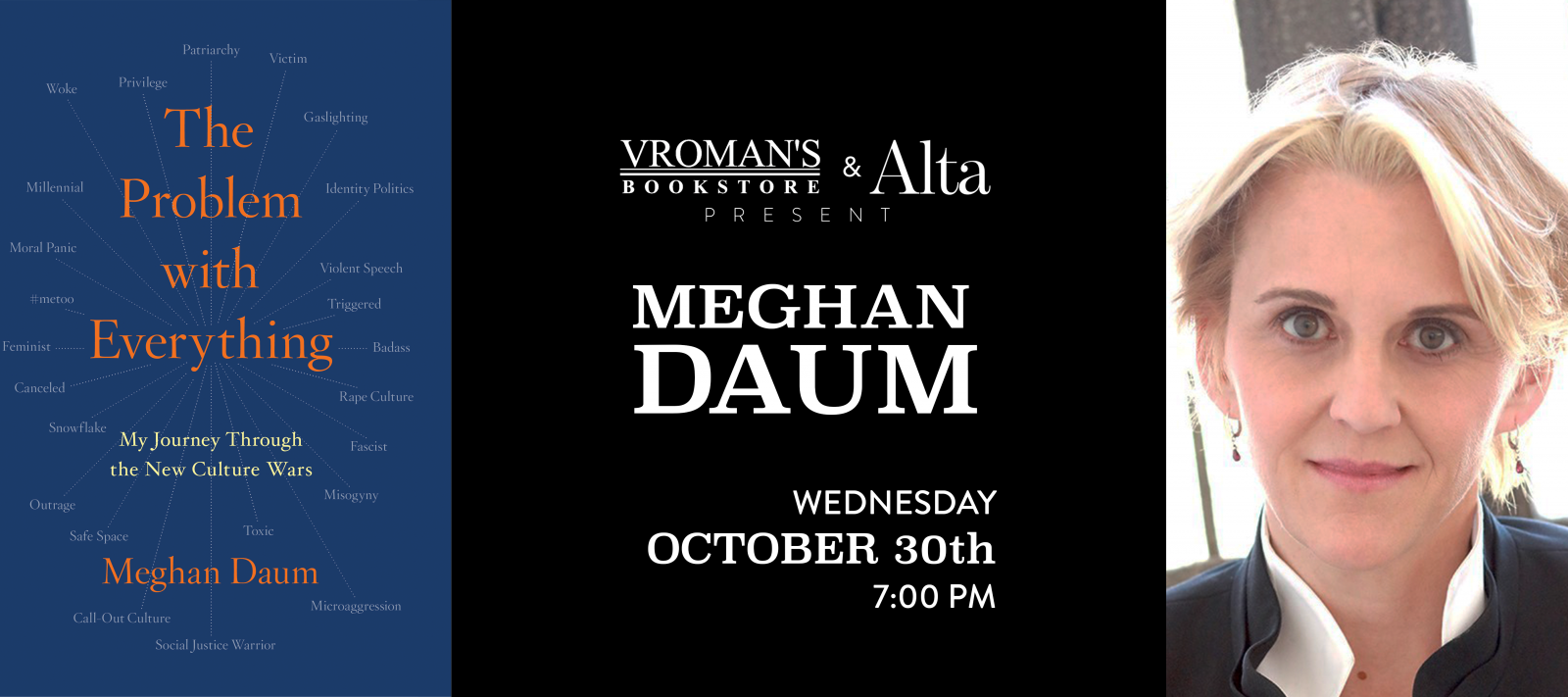 Meghan Daum book signing Wednesday October 30 at 7pm