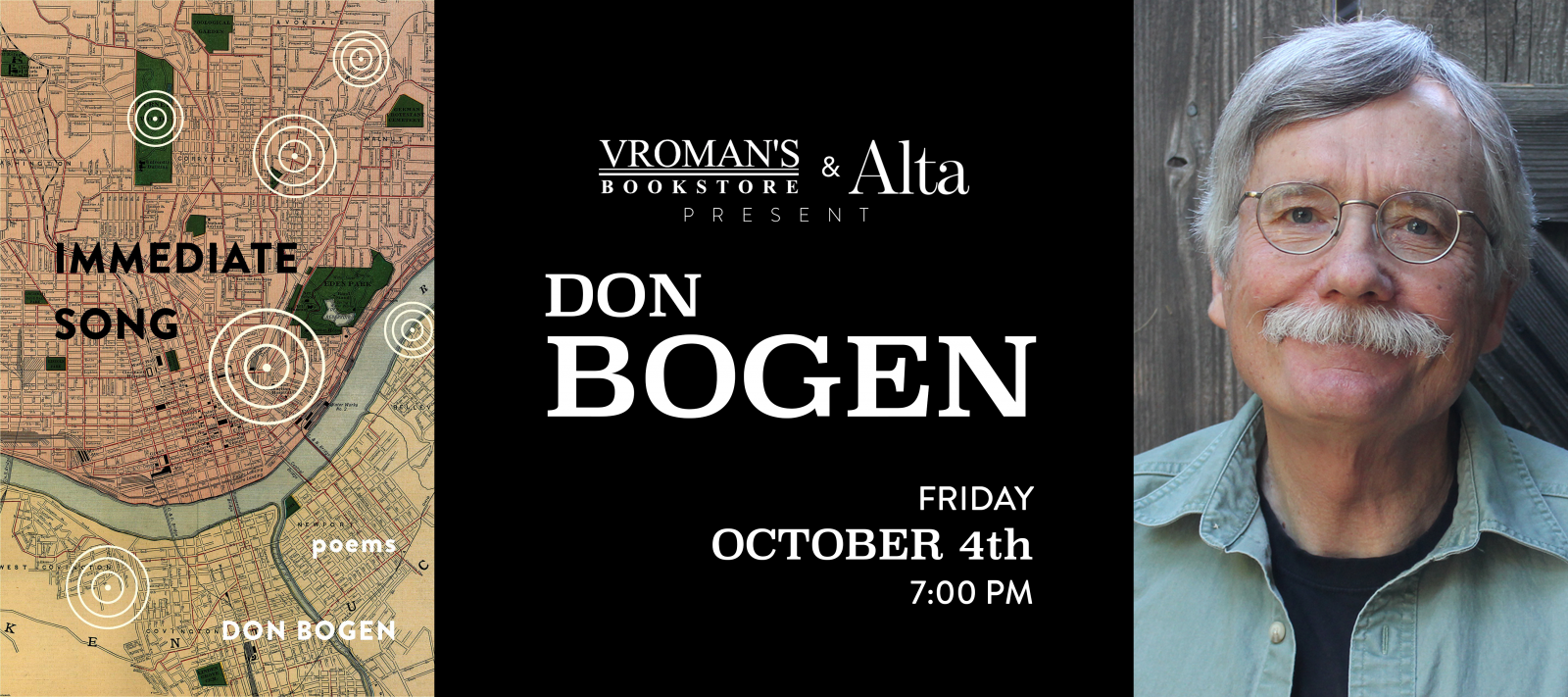 Don Bogen book signing Friday Oct 4 at 7pm