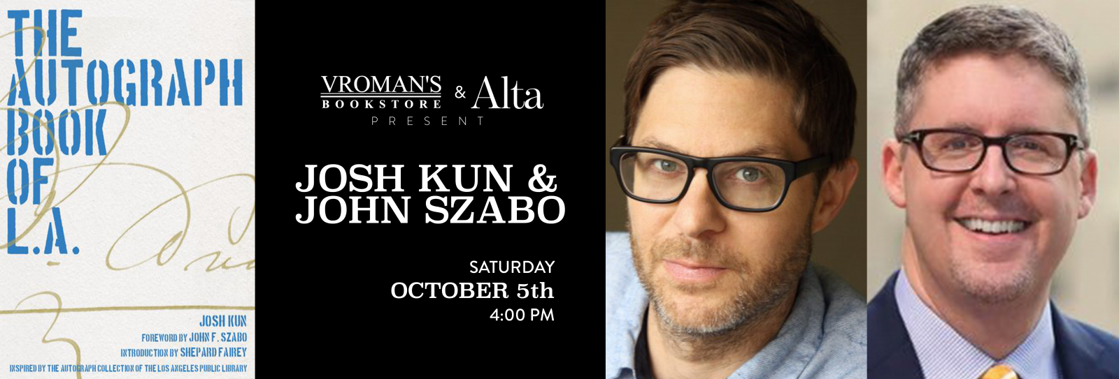 Josh Kun and John Szabo book signing Saturday October 5 at 4pm