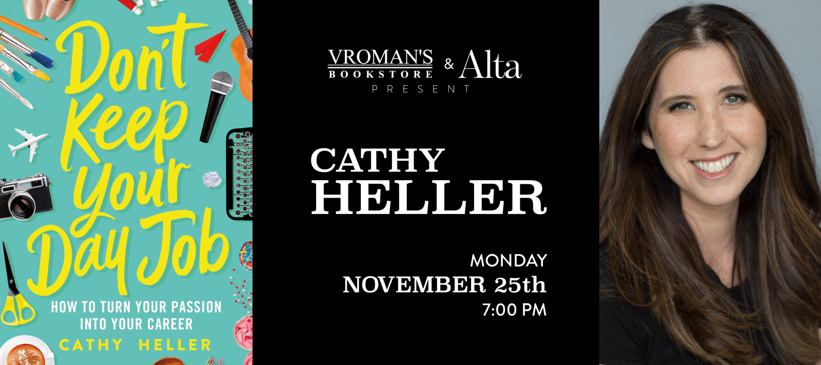 book signing with Cathy Heller Monday November 25 at 7pm