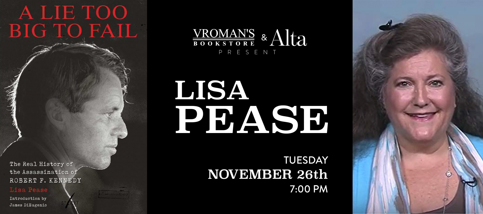book signing with Lisa Pease Tuesday November 26 at 7pm