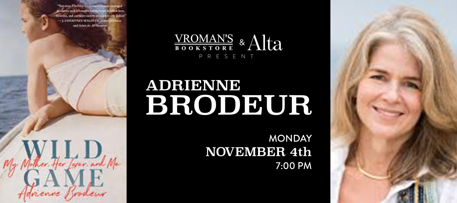 book signing with Adrienne Brodeur Monday November 4 at 7pm