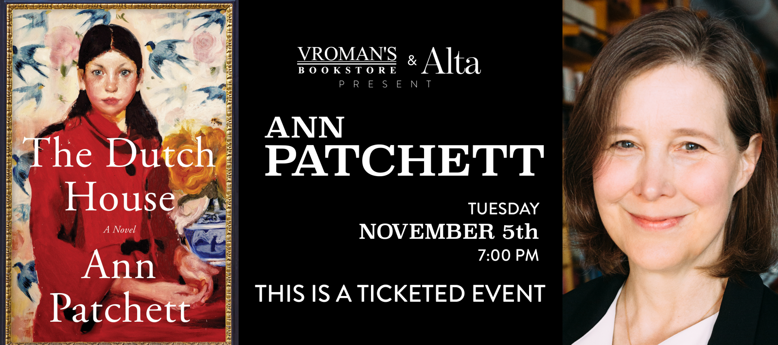 Ann Patchett book signing November 5th at 7pm