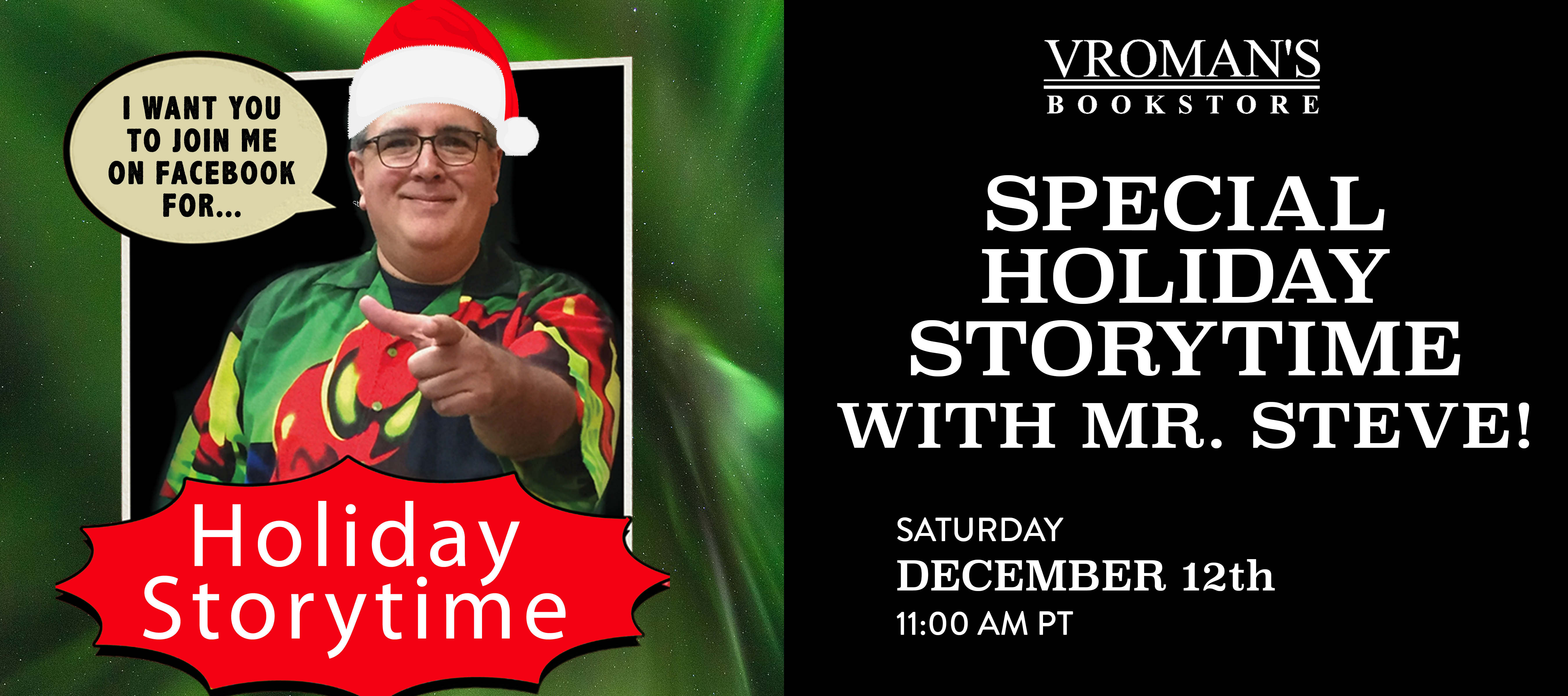 Holiday storytime event banner