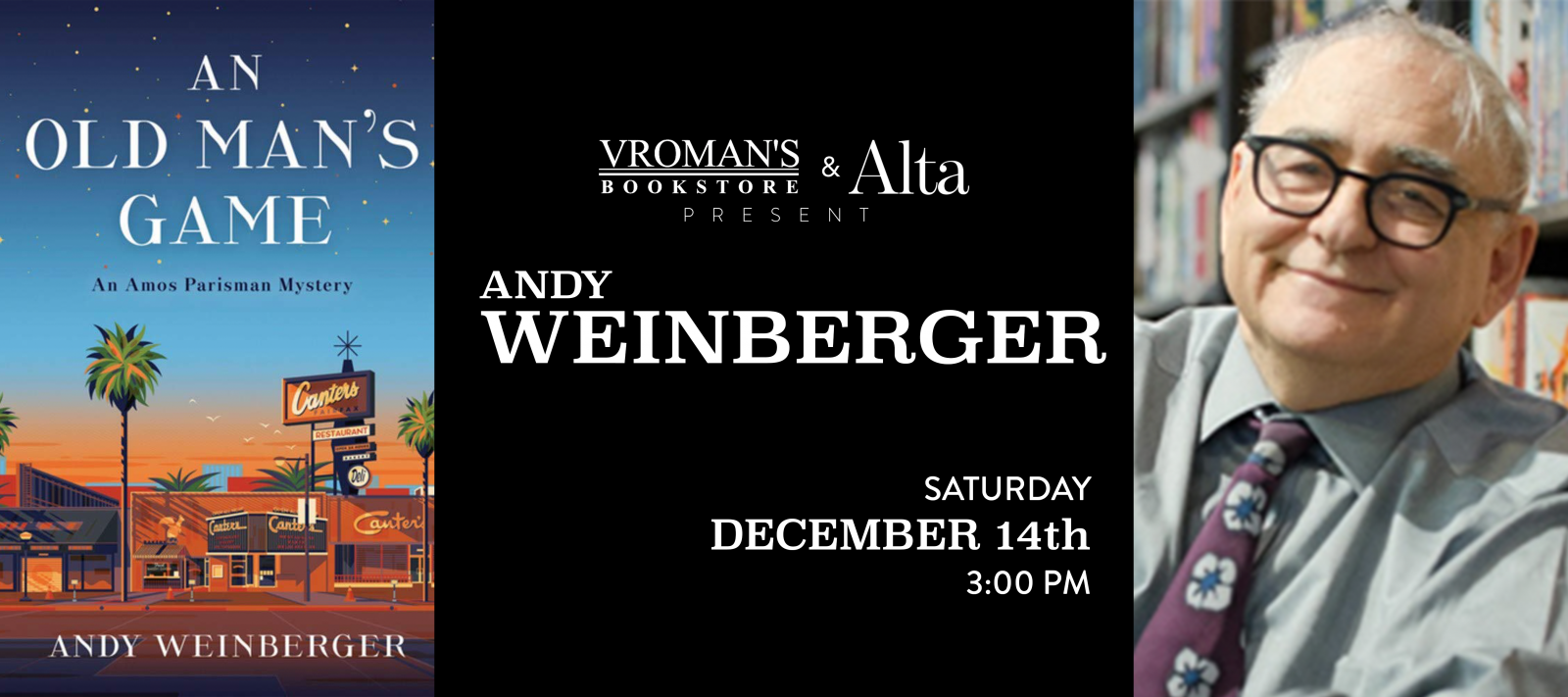 Andy Weinberger book signing Saturday December 14th at 3pm