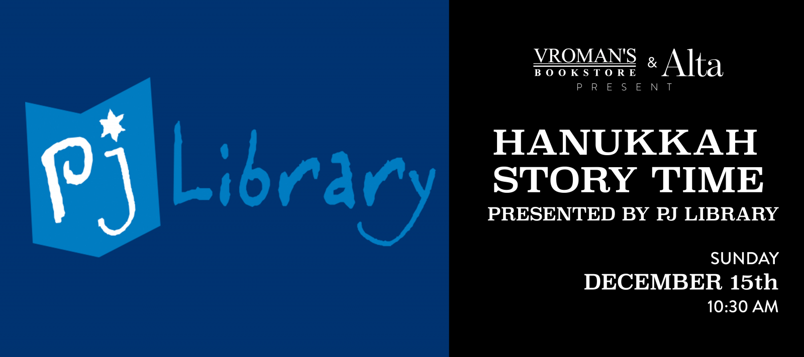 Hanukkah Story Time presented by PJ Library on Sunday, December 15 at 10:30am