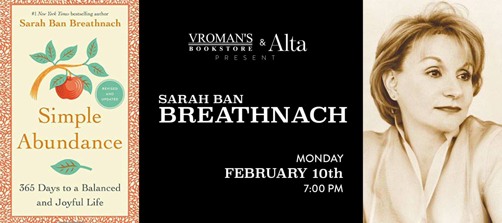 Sarah Ban Breathnach book signing on Monday, February 10, at 7pm