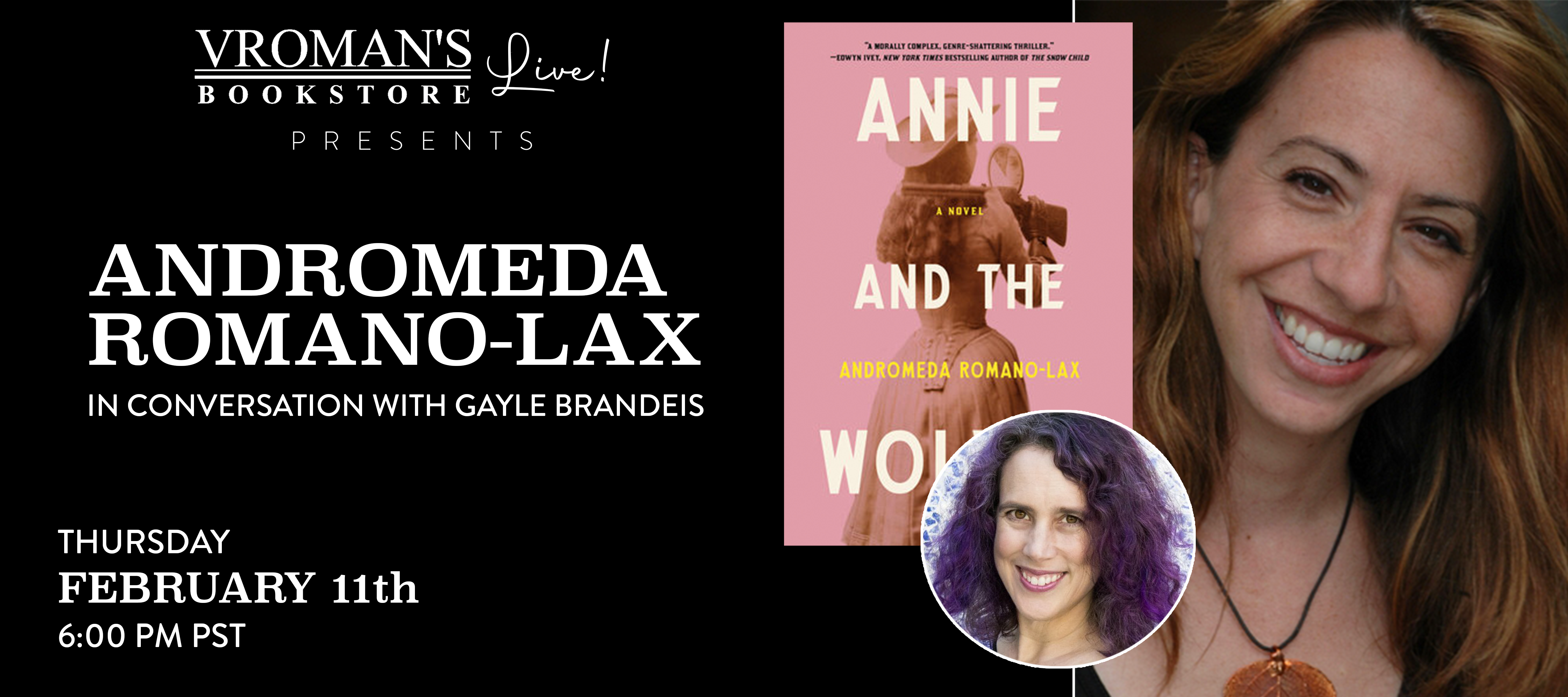 Andromeda Romano-Lax, in conversation with Gayle Brandeis on Thursday February 11 at 6pm