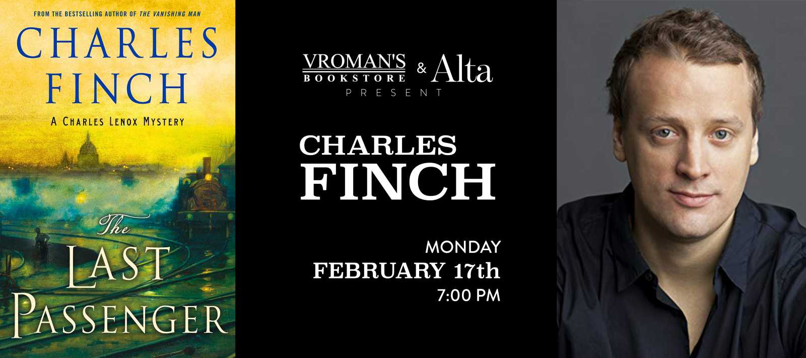 Charles Finch book signing on Monday, February 17, at 7pm