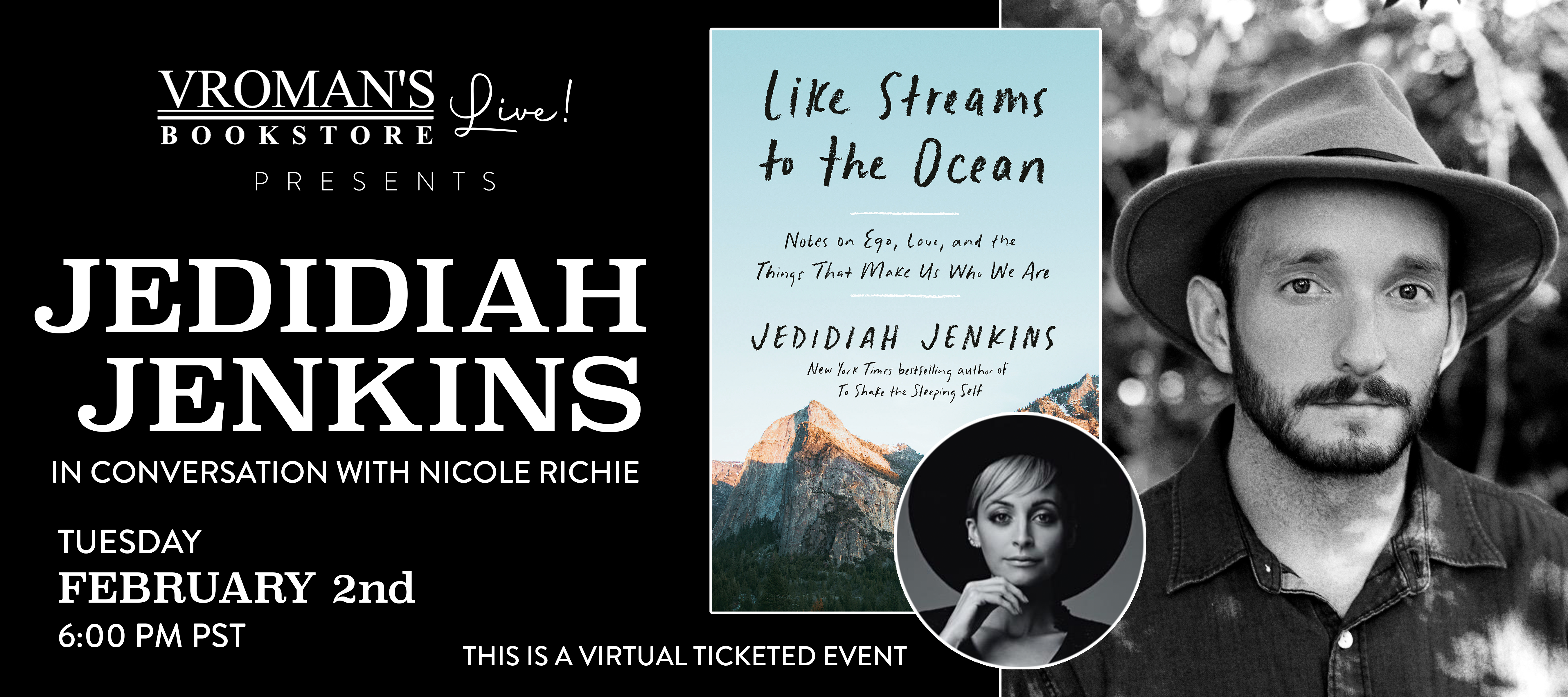 Jedidiah Jenkins, in conversation with Nicole Richie, on Tuesday February 2nd at 6pm
