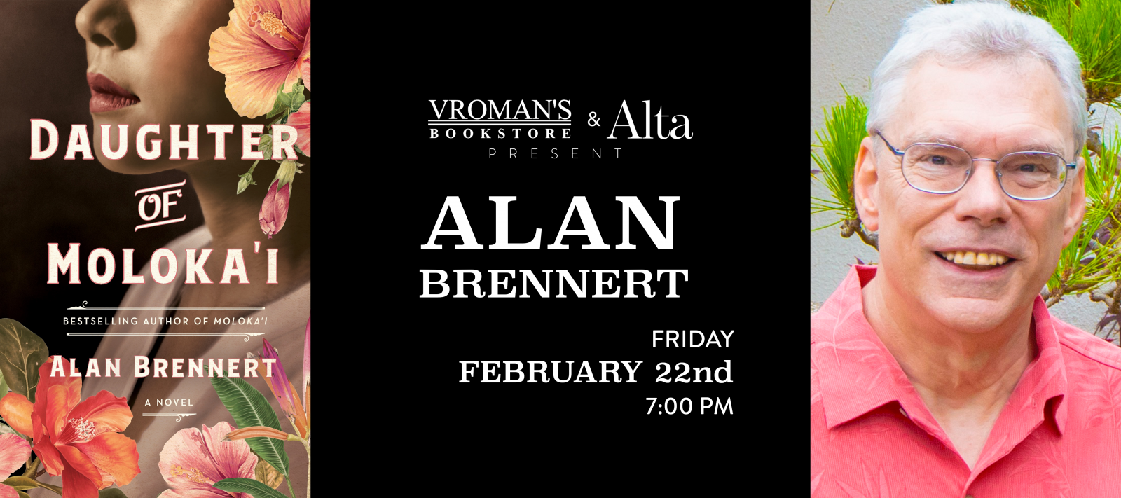 Alan Brennert Book Signing Friday February 22nd at 7pm