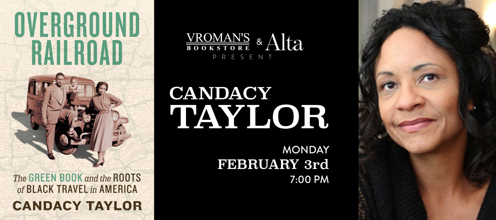 Candacy Taylor book signing on  Monday, February 3,at 7pm