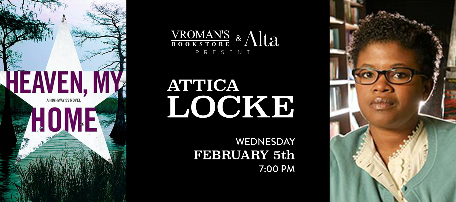 Attica Locke book signing on Wednesday, February 5, at 7pm
