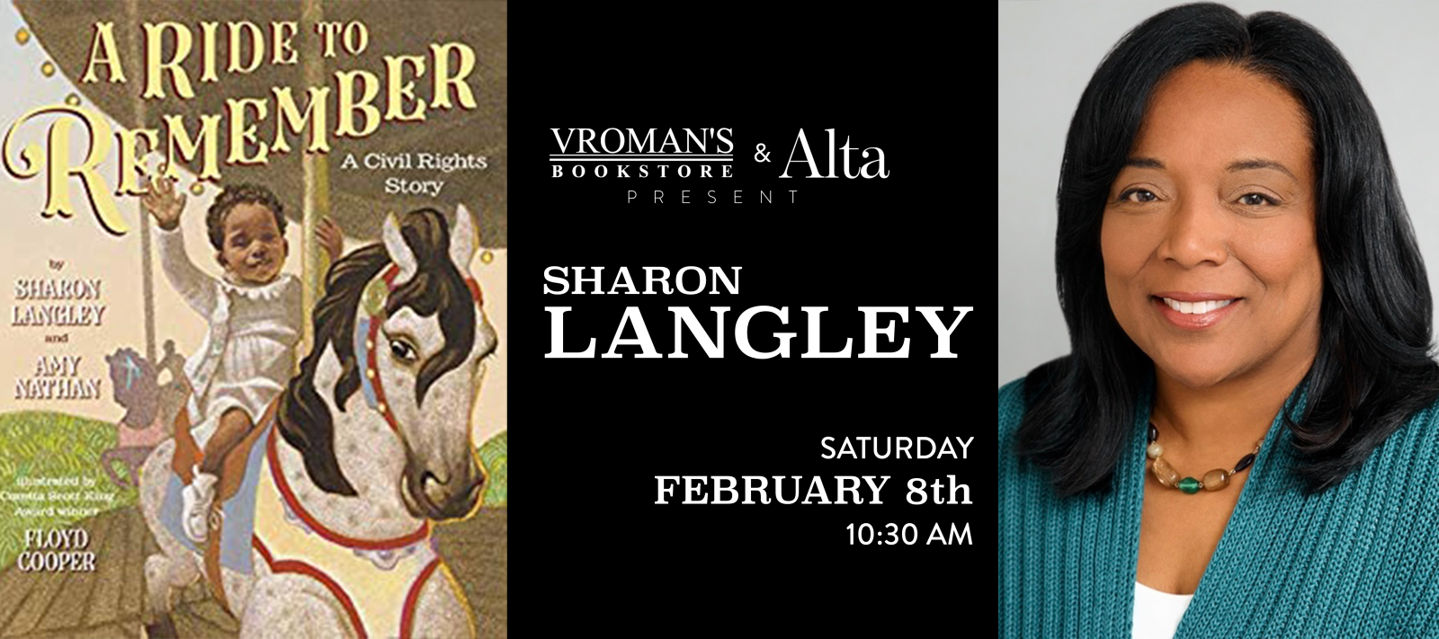 Sharon Langley book signing on Saturday, February 8, at 10:30am
