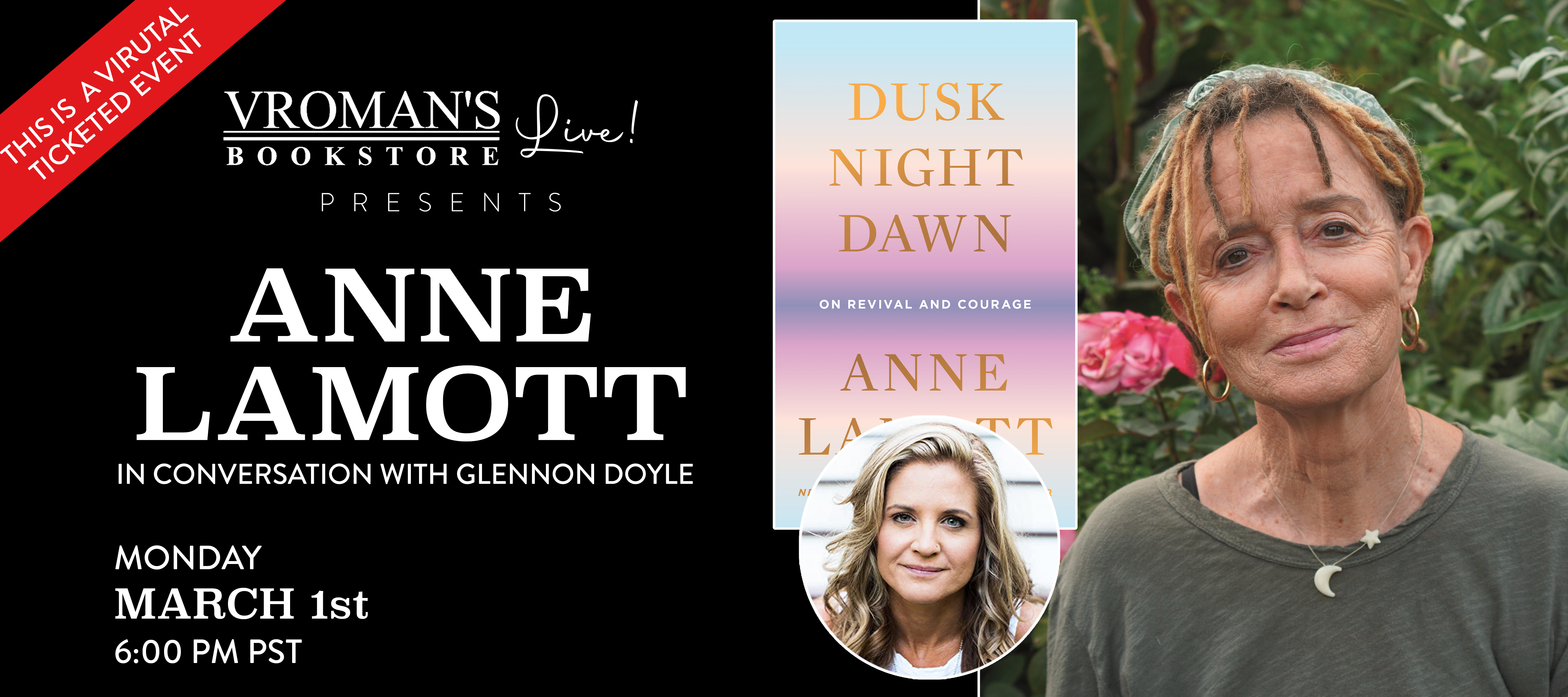 Anne Lamott, in conversation with Glennon Doyle, on Monday, March 1 at 6pm