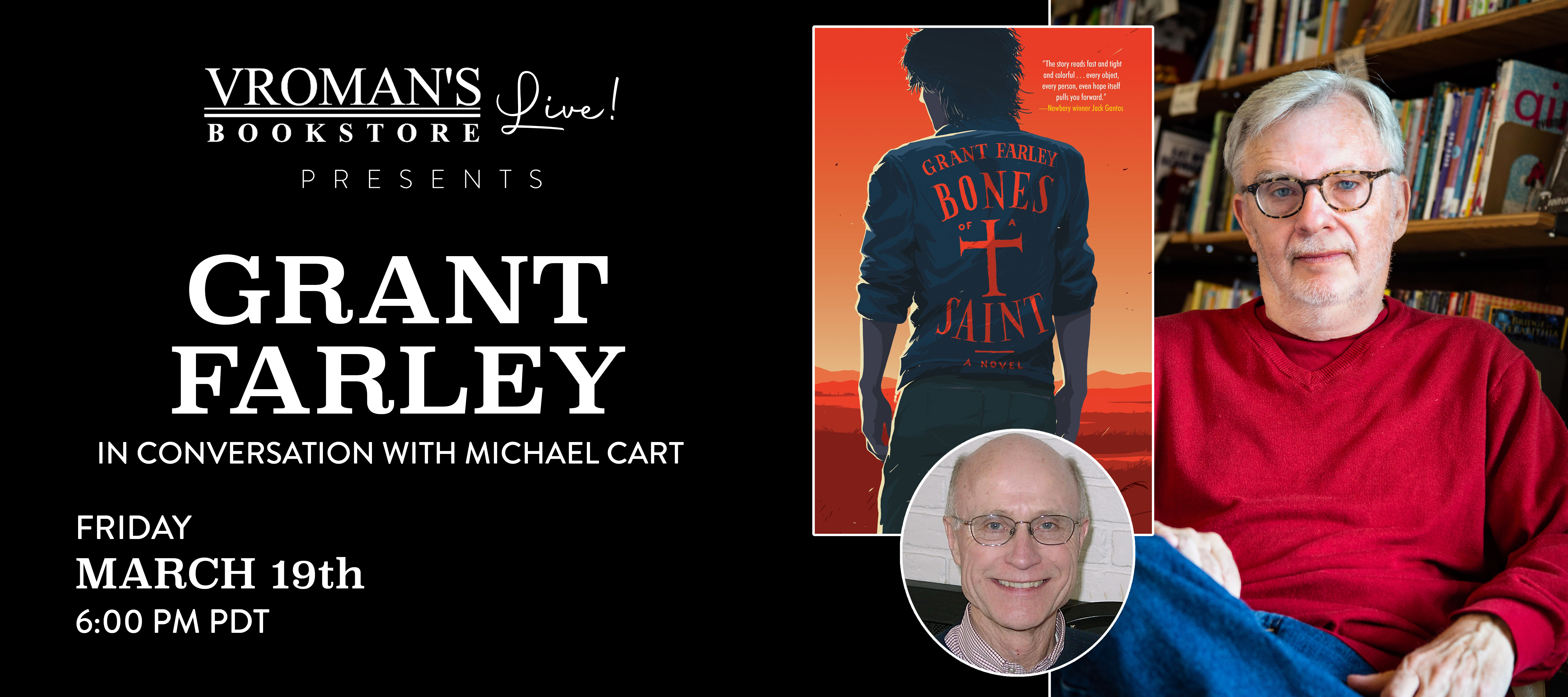 Grant Farley, in conversation with Michael Cart, on Friday March 19th at 6pm