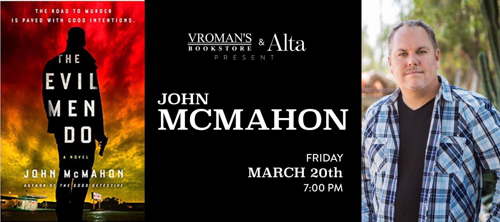 John McMahon book signing on Friday, March 20,at  7pm