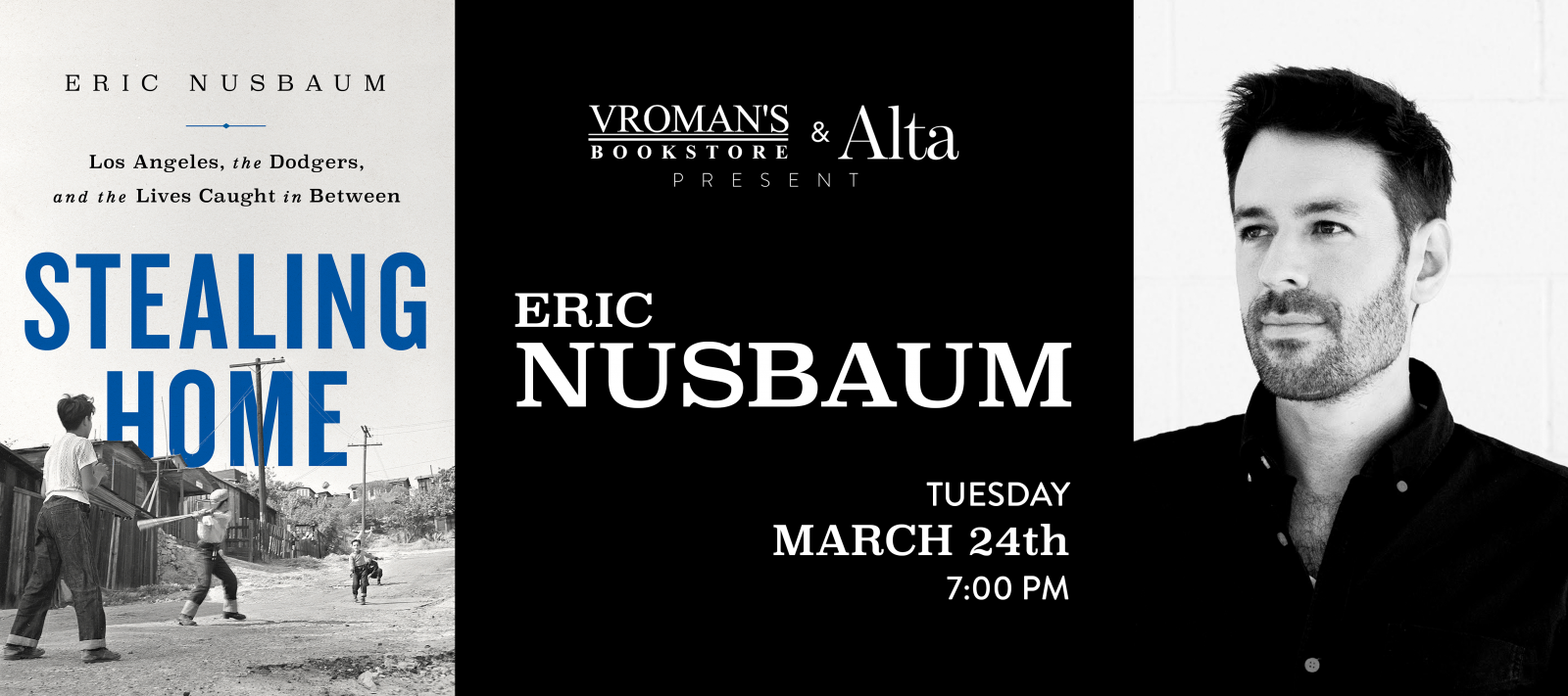 Eric Nusbaum book signing on Tuesday, March 24, at 7pm