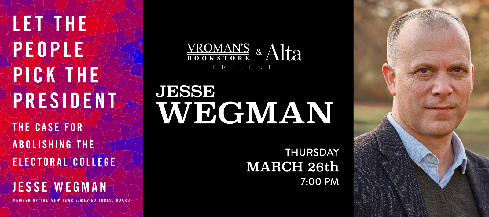 Jesse Wegman book signing on Thursday, March 26, at 7pm