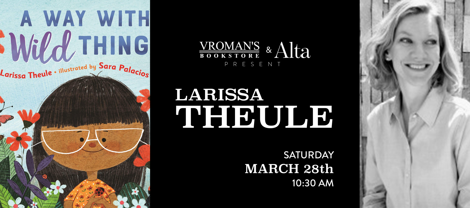Larissa Theule book signing on Saturday, March 28, at 10:30am