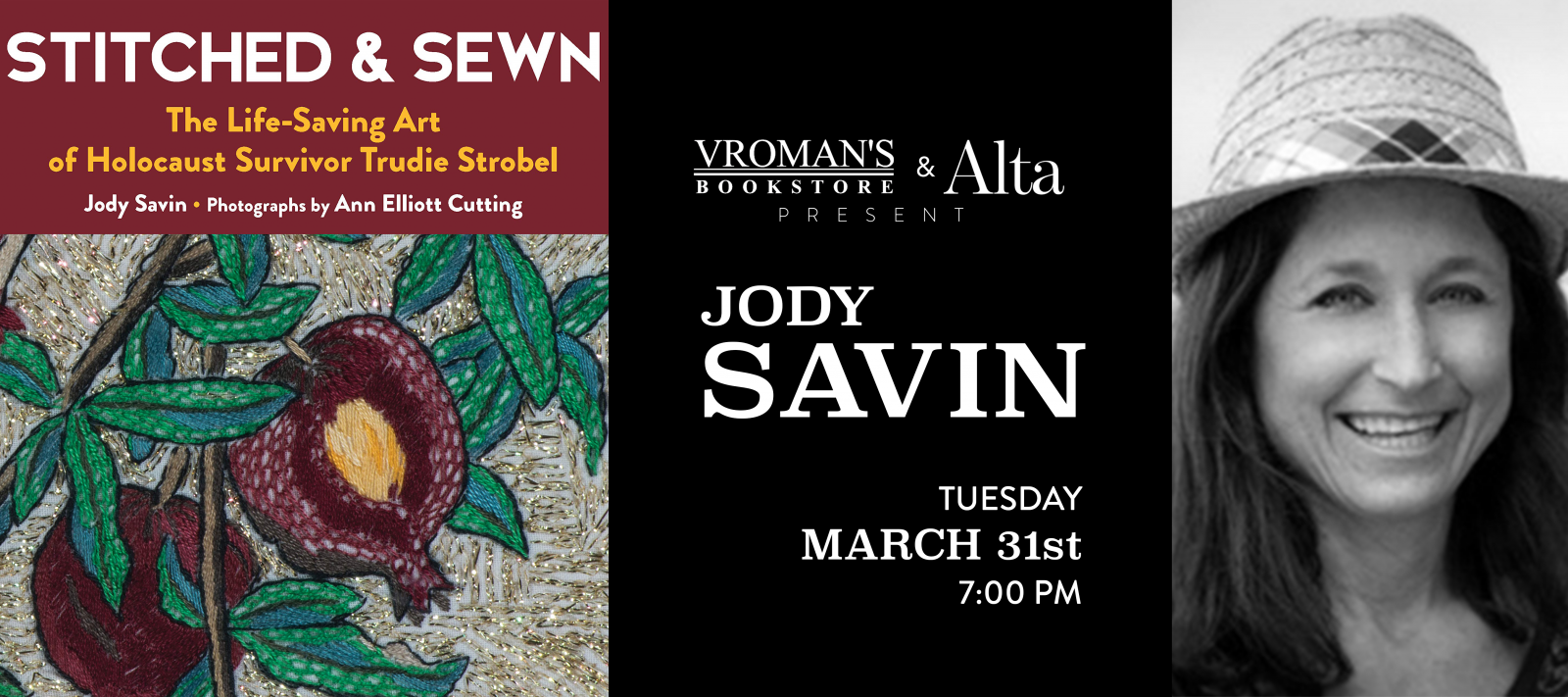 Jody Savin book signing on Tuesday, March 31, at 7pm