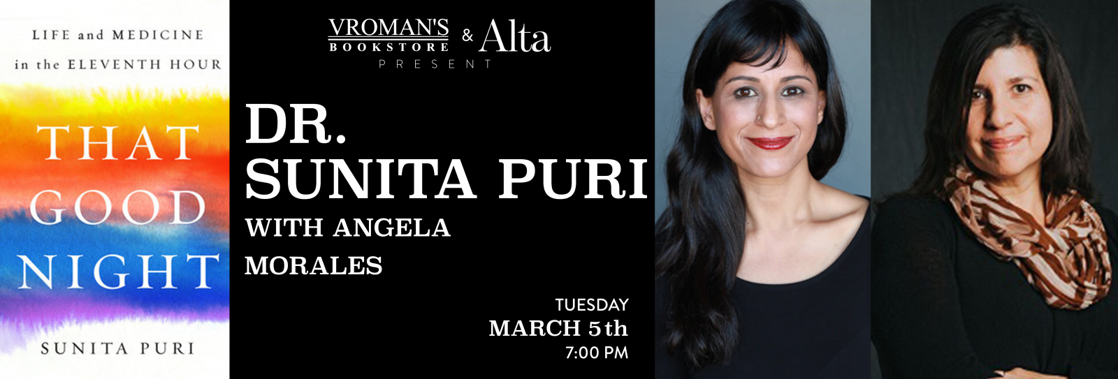 Dr. Sunita Puri, in conversation with Angela Morales Tuesday March 5th at 7pm