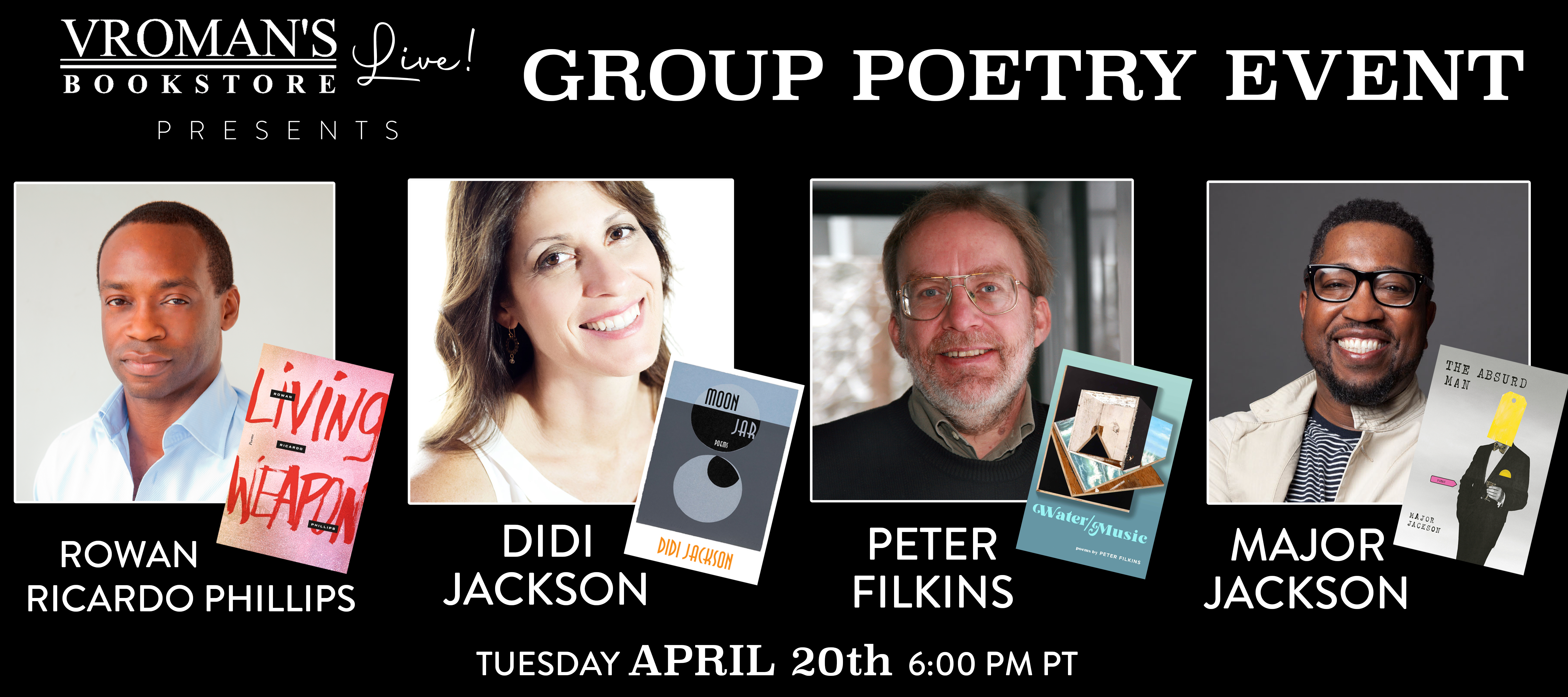 Group Poetry Event on Tuesday April 20th at 6pm