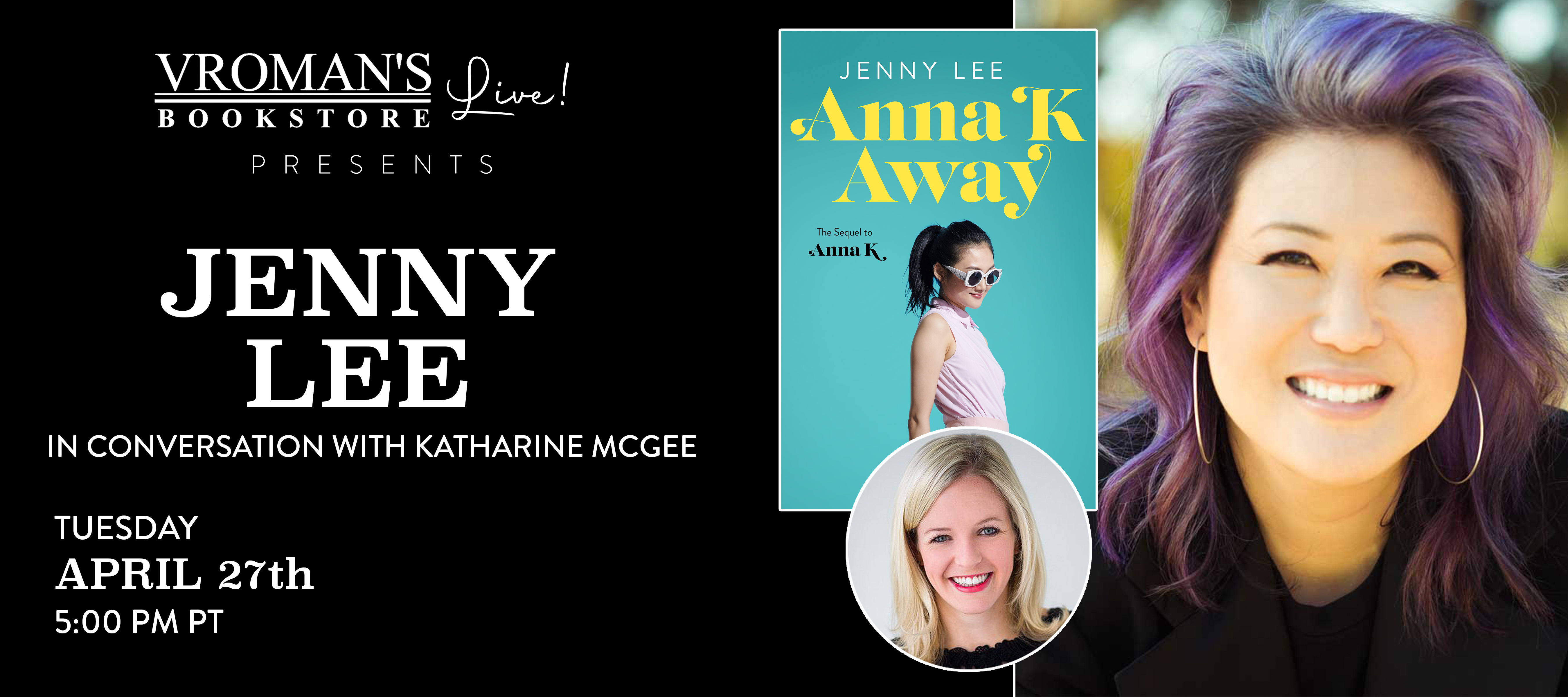 Jenny Lee, in conversation with Katharine McCee, on Tuesday April 27th at 5pm