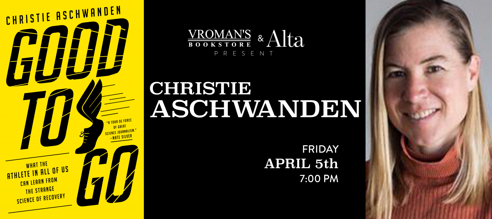 Christie Aschwanden book signing Friday April 5th at 7pm