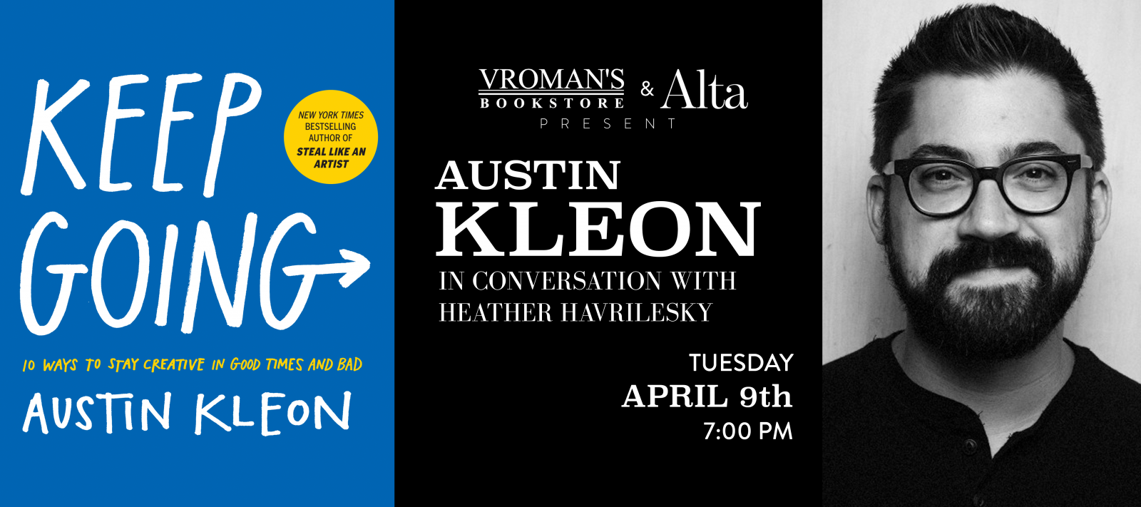 Austin Kleon, in conversation with Heather Havrilesky Tuesday April 9th at 7pm