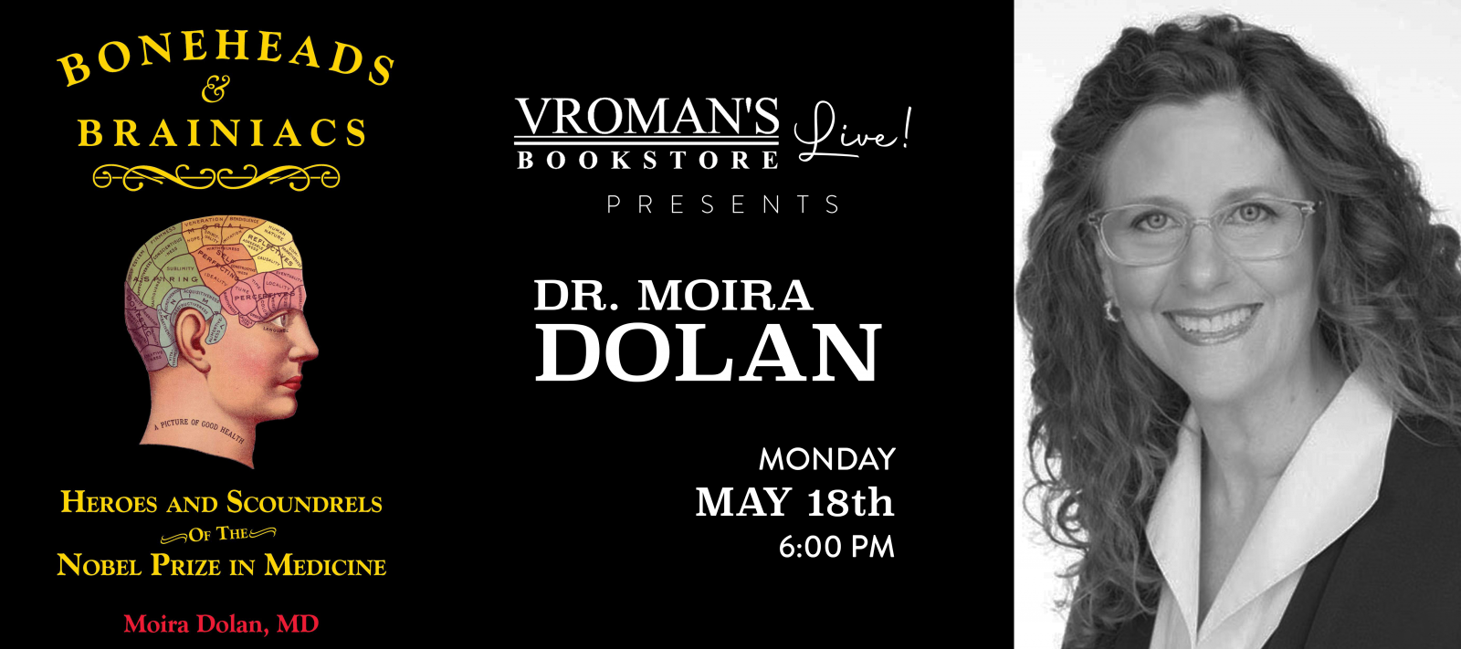 Vroman's Live presents Dr. Moira Dolan on Monday May 18th at 6pm