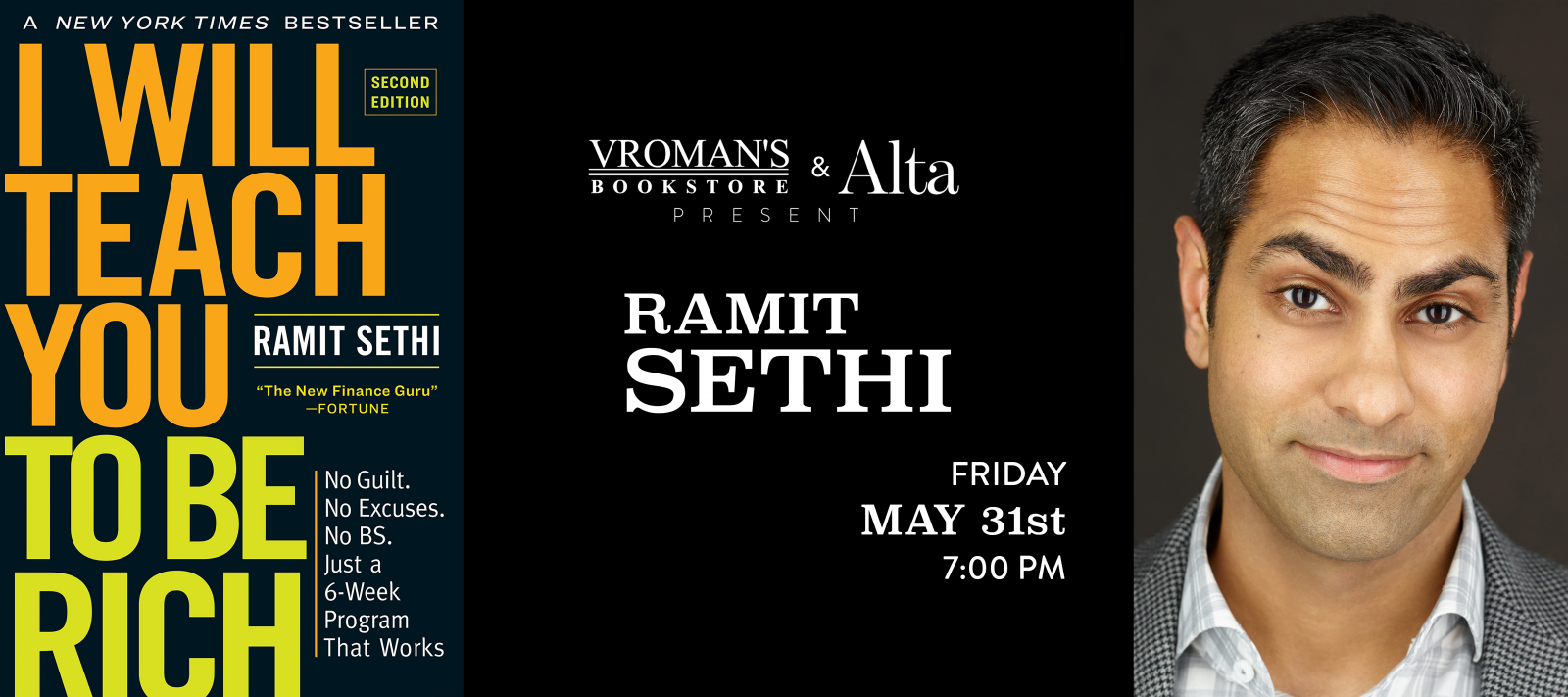 Ramit Sethi book signing Friday May 31st at 7pm