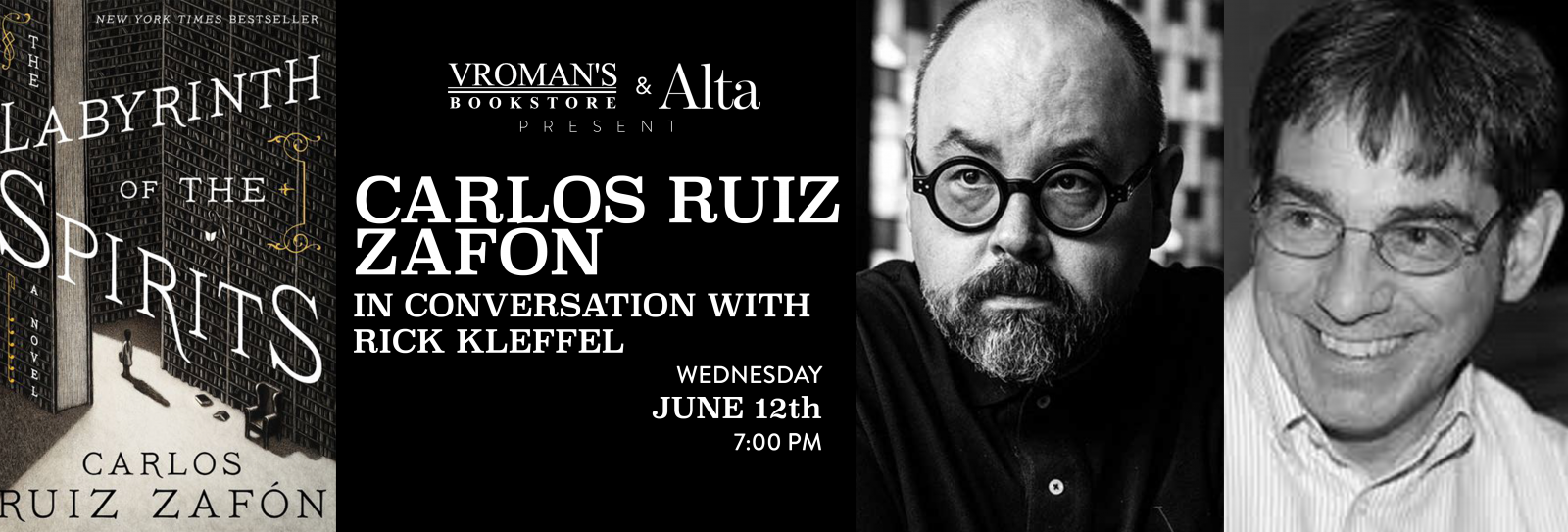 Carlos Ruiz Zafon book signing Wednesday June 12th at 7pm