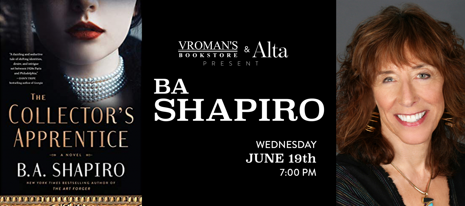 BA Shapiro book signing Wednesday June 19th at 7pm