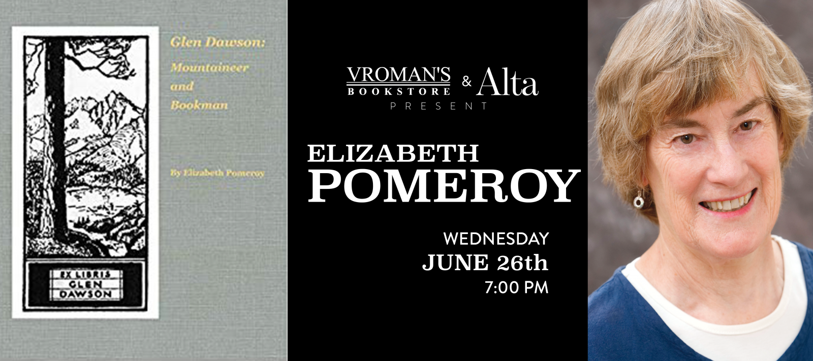 Elizabeth Pomeroy book signing Wednesday June 26th at 7pm