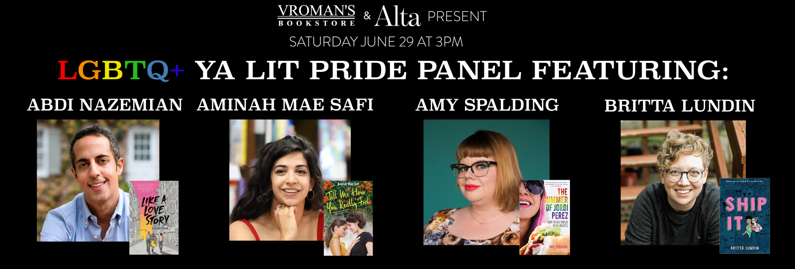 LGBTQ+ YA LIT PRIDE PANEL Saturday June 29 at 3pm