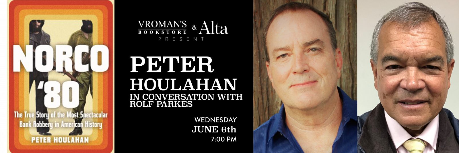 Peter Houlahan, in conversation with Deputy Sheriff Rolf Parkes Wednesday June 6th at 7pm
